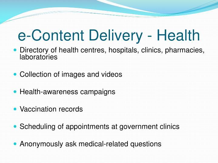 e-Content Delivery - Health