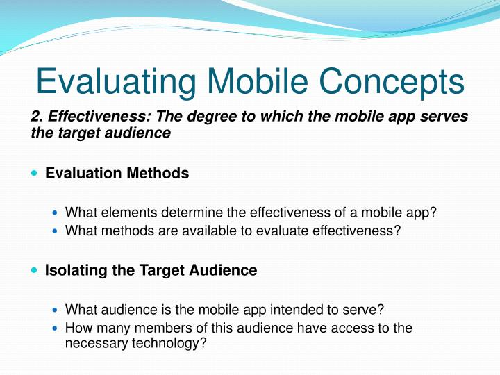 Evaluating Mobile Concepts