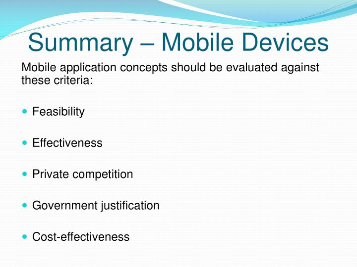 Summary – Mobile Devices
