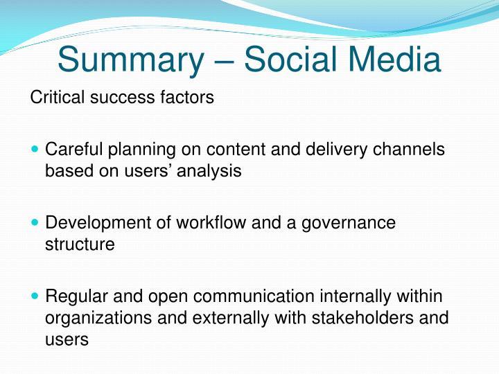 Summary – Social Media