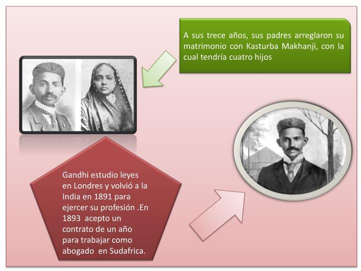 A sus trece años, sus padres arreglaron su matrimonio conKasturba Makhanji, con la cual tendría cuatro hijos