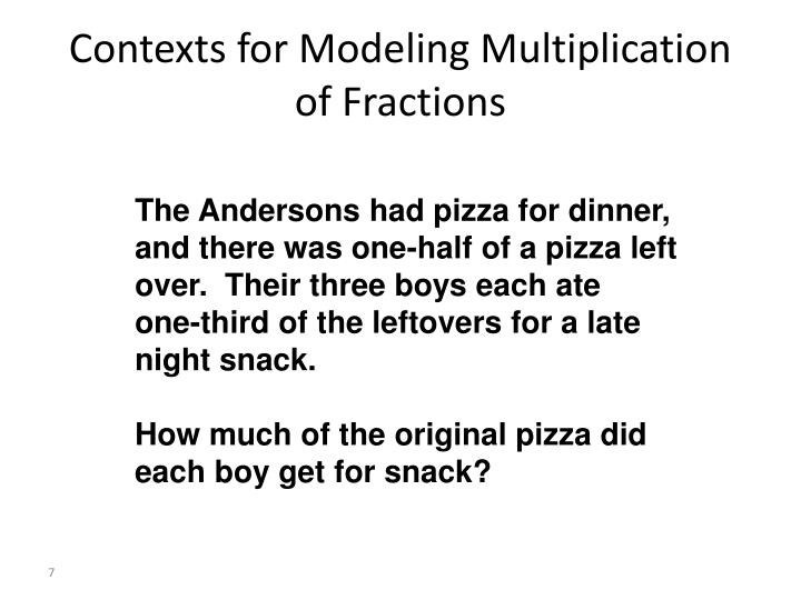 Contexts for Modeling Multiplication of Fractions