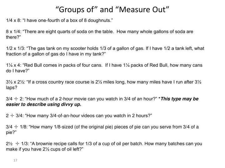 """Groups of"" and ""Measure Out"""