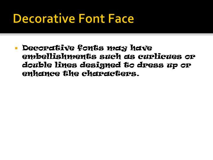 Decorative Font Face