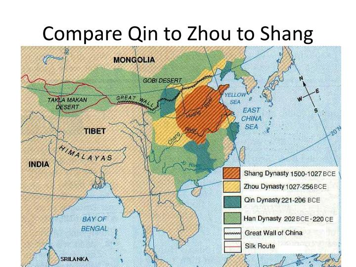 Compare Qin to Zhou to Shang