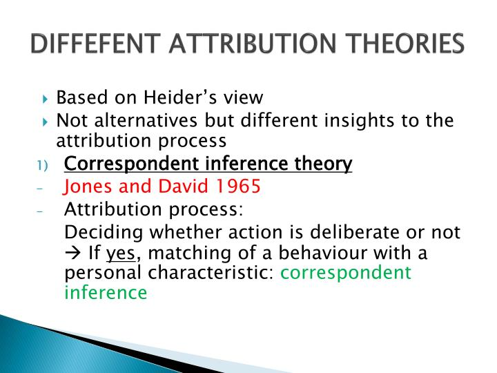 DIFFEFENT ATTRIBUTION THEORIES