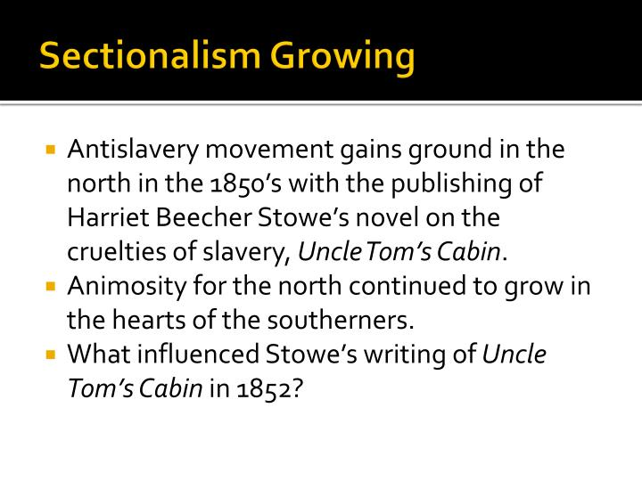Sectionalism growing