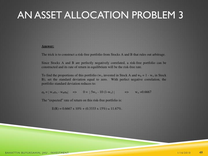 An Asset Allocation