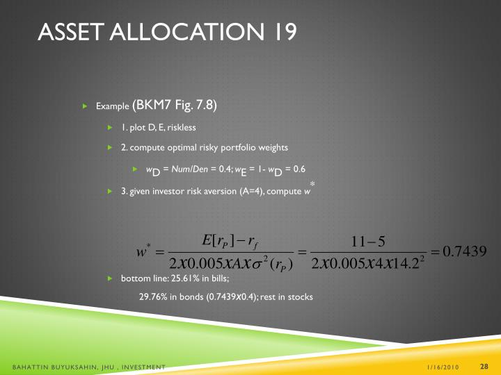 Asset Allocation 19