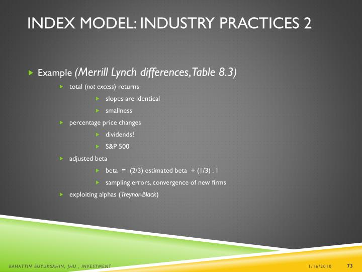 Index Model: Industry Practices 2