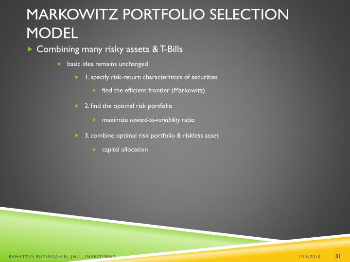 Markowitz Portfolio Selection Model