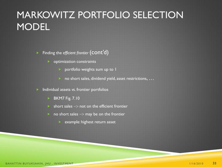 Markowitz Portfolio Selection Model