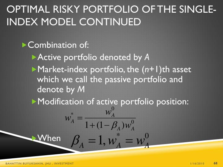 Optimal Risky Portfolio of the Single-Index Model Continued