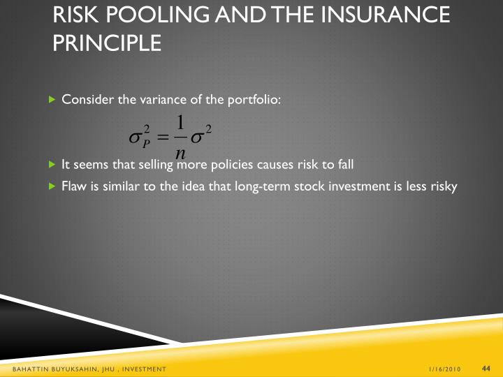 Risk Pooling and the Insurance Principle