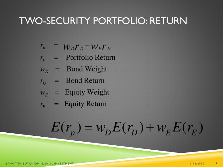 Two-Security Portfolio: Return