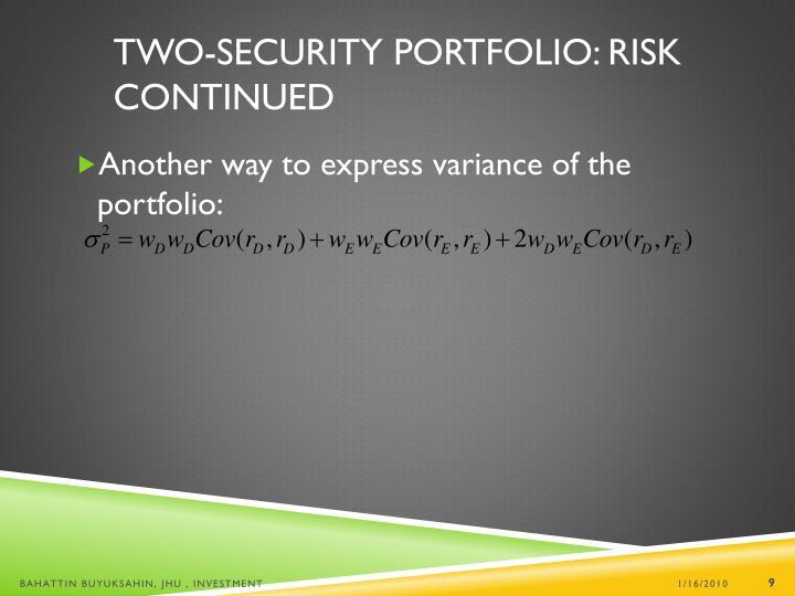 Two-Security Portfolio: Risk Continued