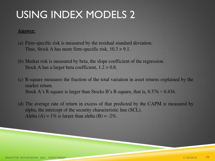 Using Index Models 2