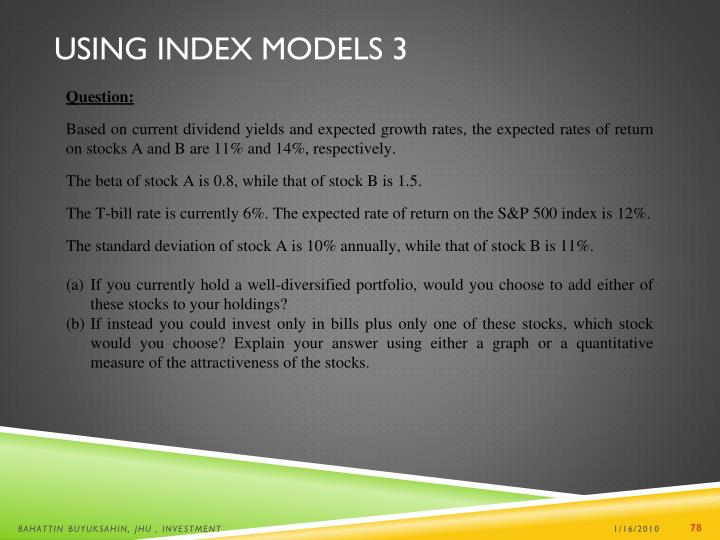 Using Index Models 3