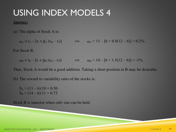 Using Index Models 4
