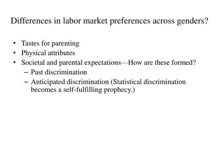 Differences in labor market preferences across genders?