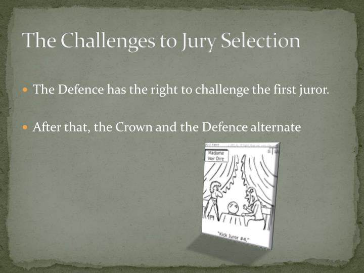 The Challenges to Jury Selection