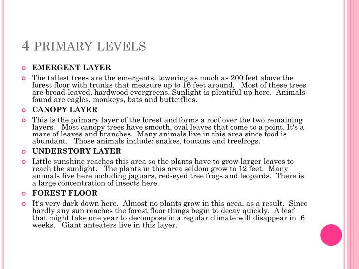 4 primary levels