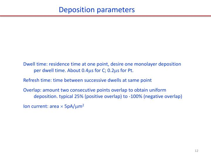 Deposition parameters