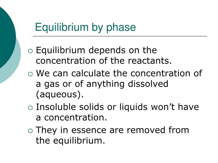 Equilibrium by phase
