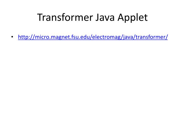 Transformer Java Applet