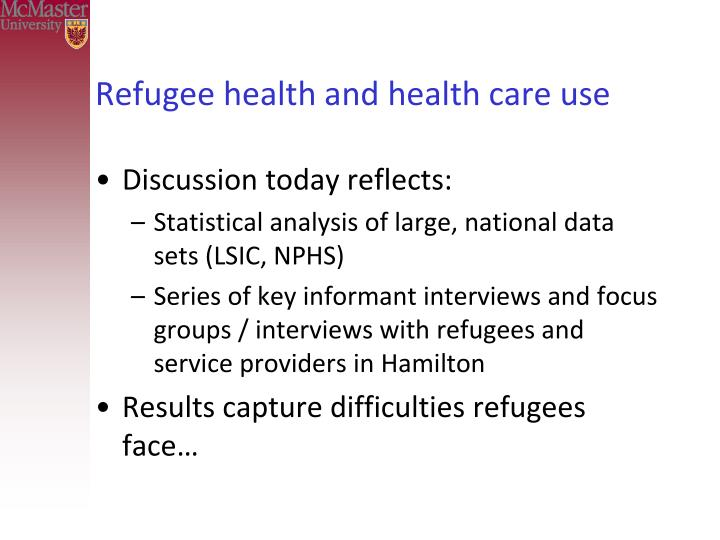 Refugee health and health care use