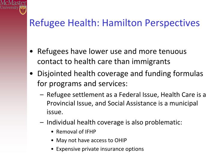 Refugee Health: Hamilton Perspectives