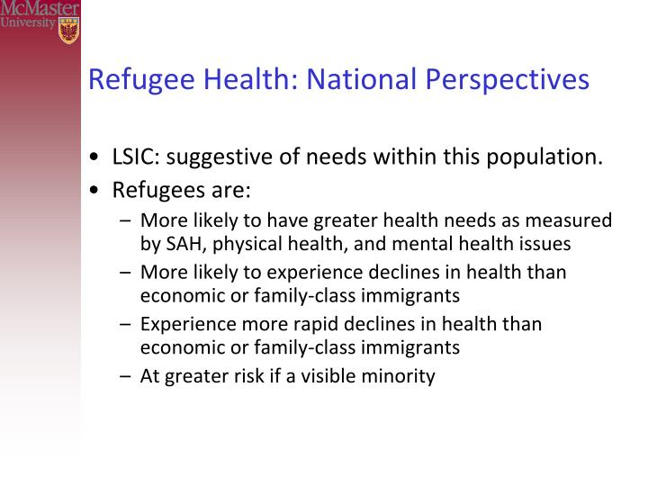 Refugee Health: National Perspectives