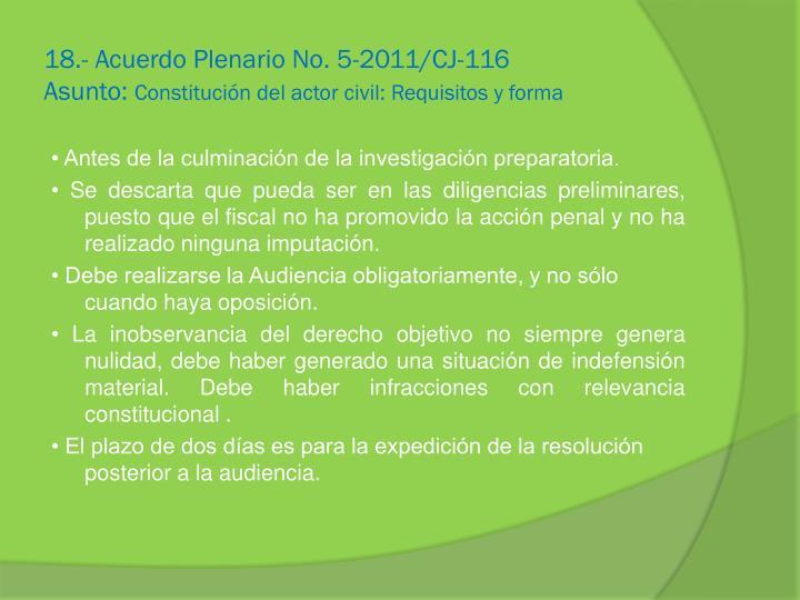 18.- Acuerdo Plenario No. 5-2011/CJ-116
