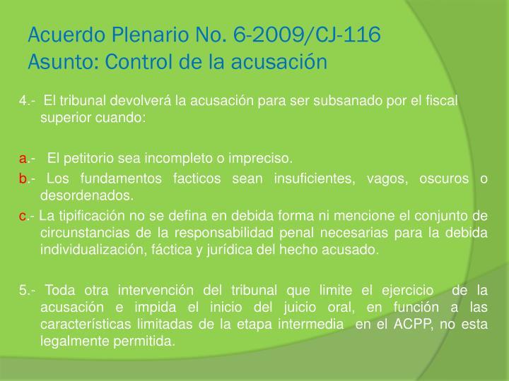 Acuerdo Plenario No. 6-2009/CJ-116