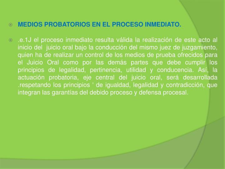 MEDIOS PROBATORIOS EN EL PROCESO INMEDIATO.