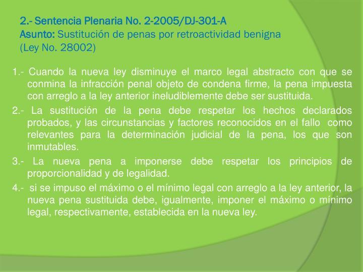 2.- Sentencia Plenaria No. 2-2005/DJ-301-A
