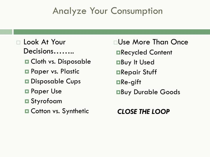 Analyze Your Consumption
