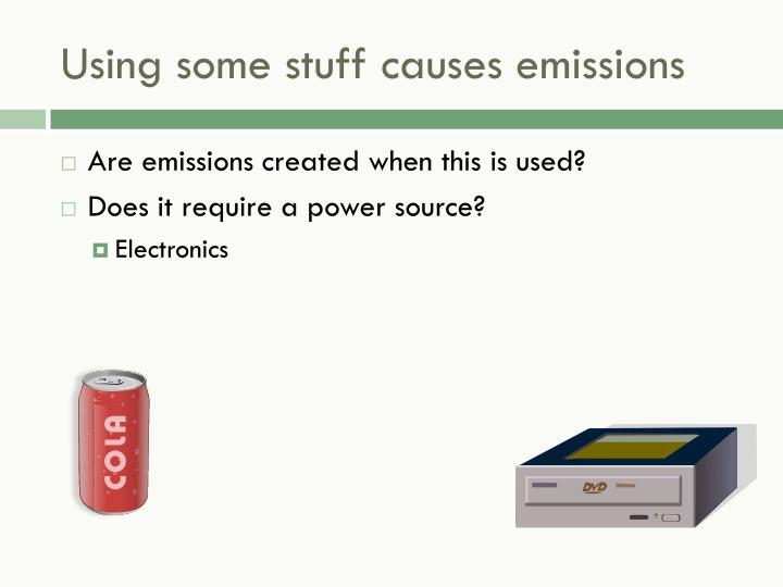 Using some stuff causes emissions