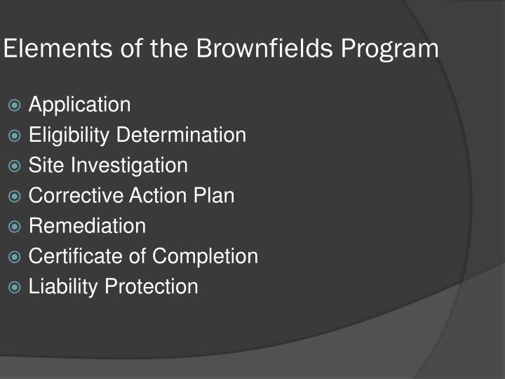 Elements of the Brownfields Program