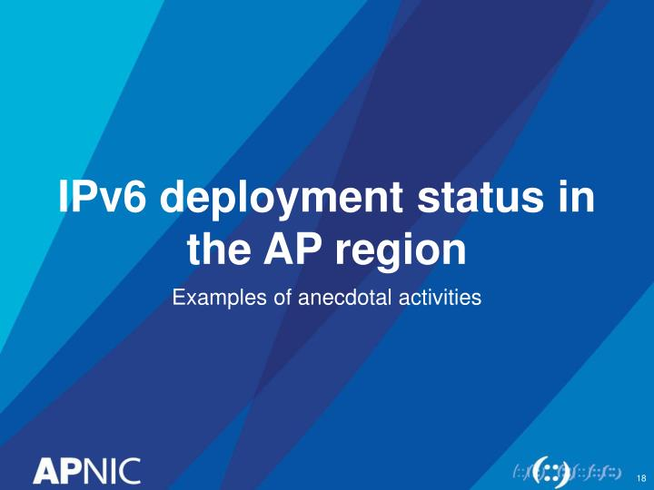 IPv6 deployment status in the AP region