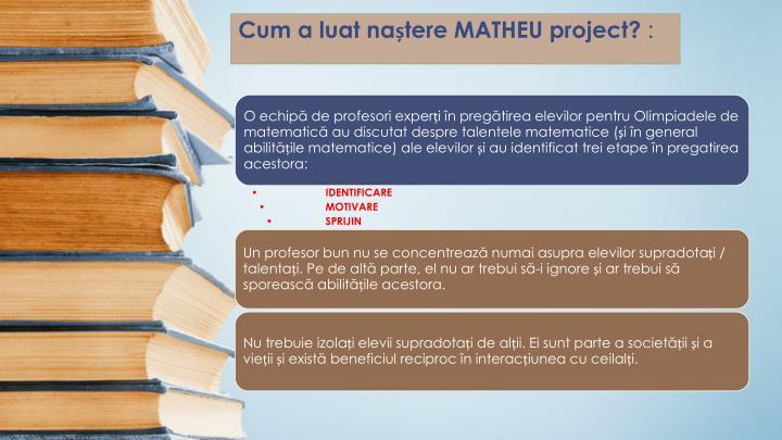 Cum a luat naștere MATHEU project?