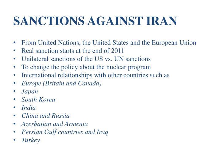 SANCTIONS AGAINST IRAN