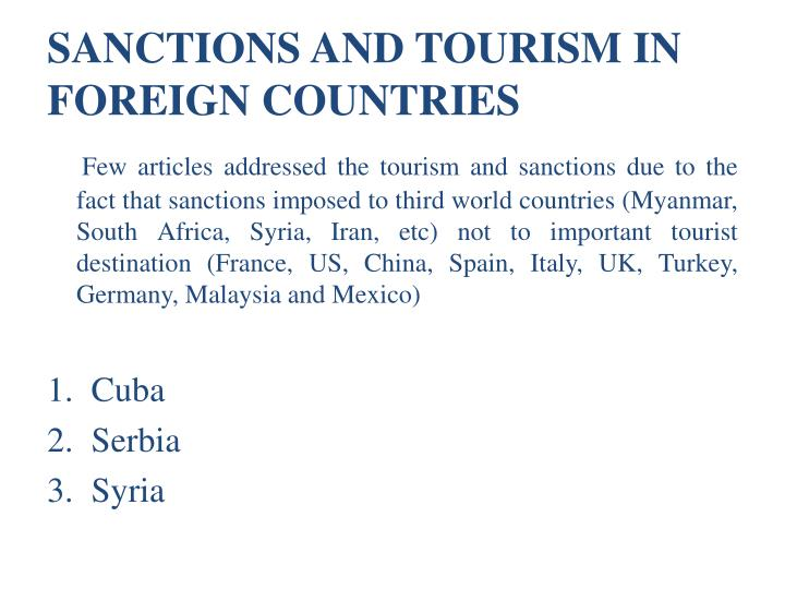 SANCTIONS AND TOURISM