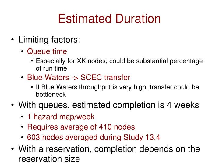 Estimated Duration