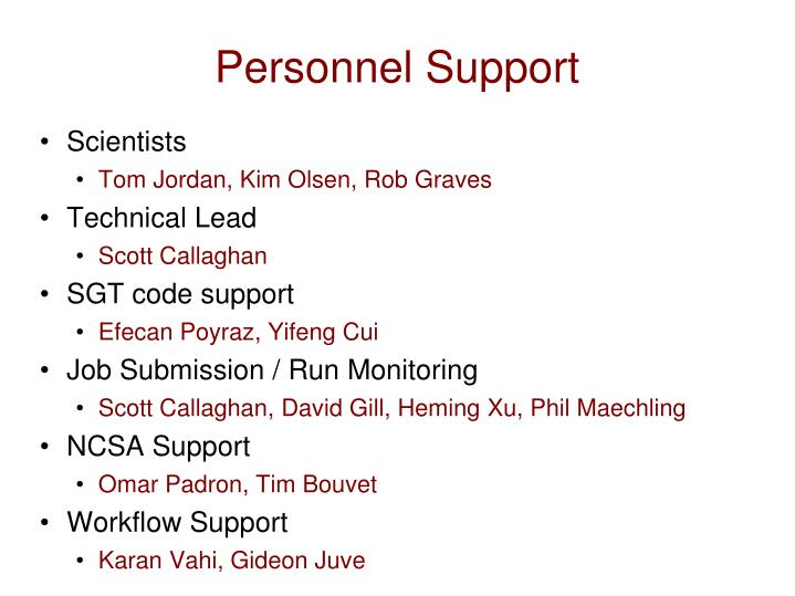 Personnel Support