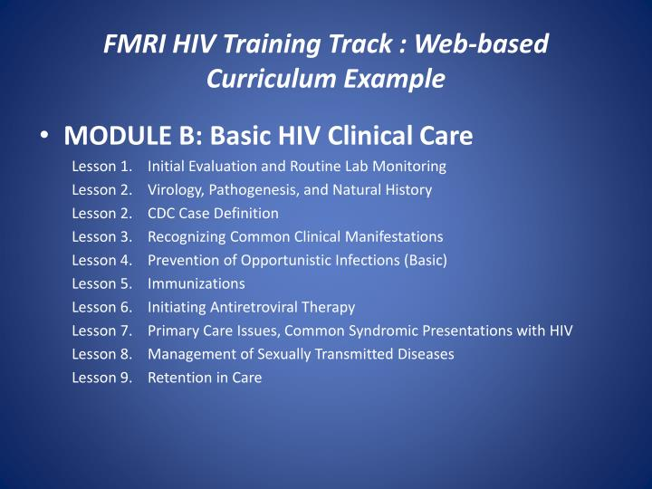 FMRI HIV Training Track : Web-based