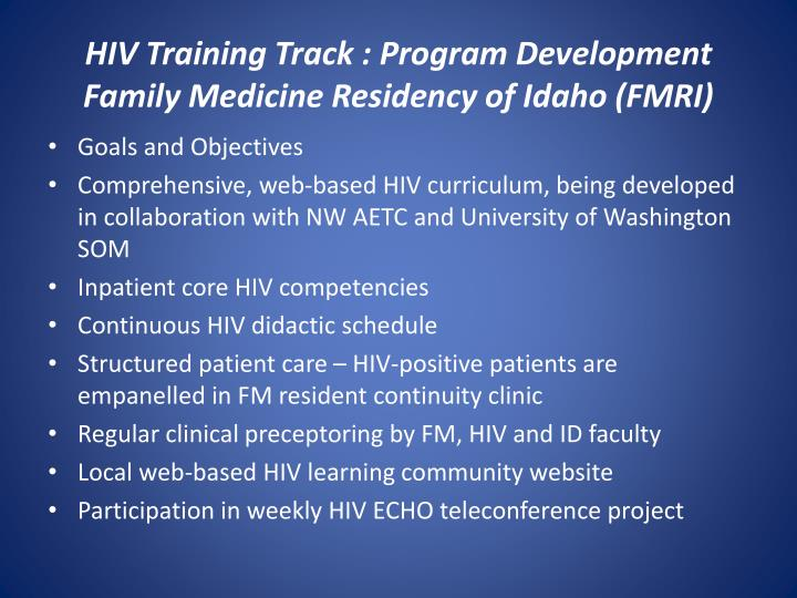 HIV Training Track