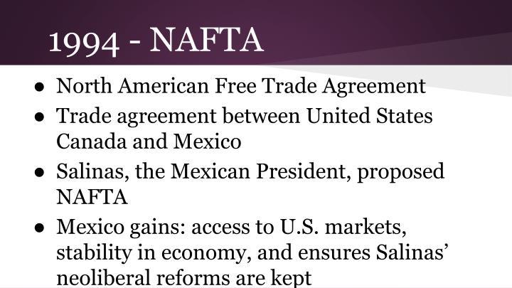 1994 - NAFTA