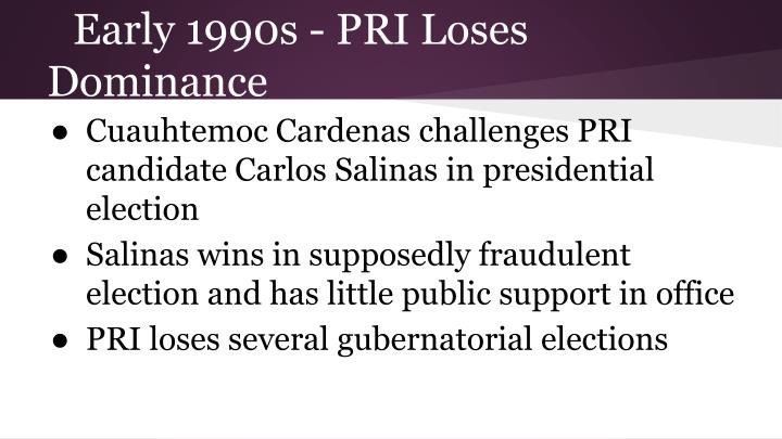 Early 1990s - PRI Loses Dominance