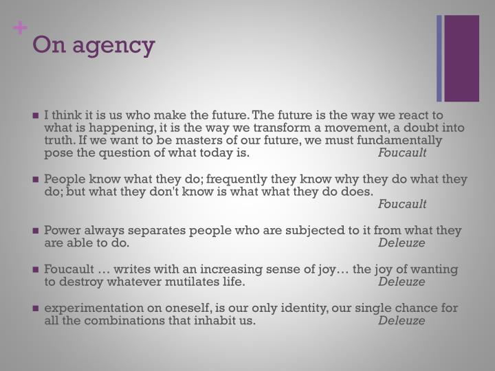 On agency